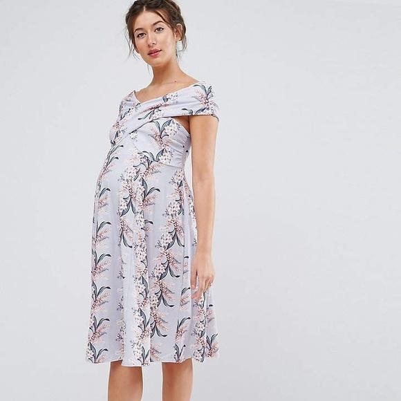 9969a281c8 NWT ASOS Maternity Floral Off-Shoulder Dress